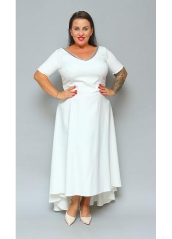 Sukienka maxi wieczorowa rozkloszowana asymetryczna Monica XXL