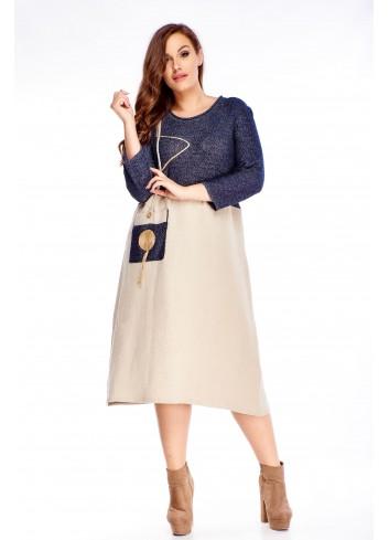 Sukienka rozkloszowana dla puszystych duży rozmiar Plus Size