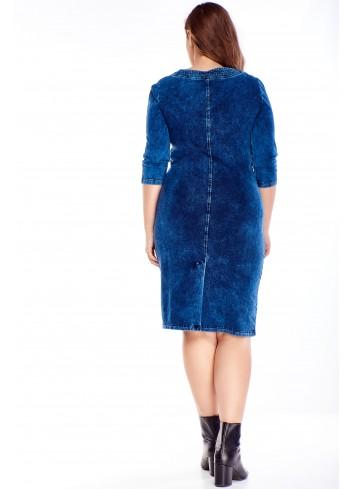 Jeansowa sukienka do pracy i na co dzień dla puszystych XXL