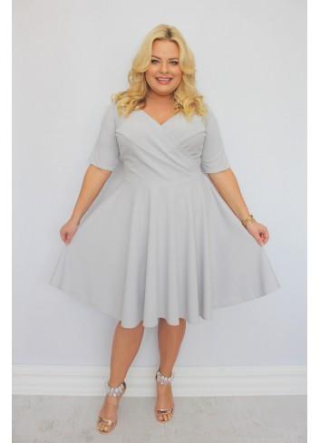 Sukienka Catalena rozkloszowana GŁADKA Plus Size