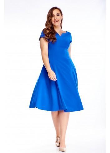Rozkloszowana sukienka z krótkim rękawem PLUS SIZE