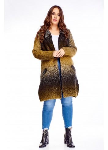 Długi sweter z kieszeniami zapinany na zamek duże rozmiary