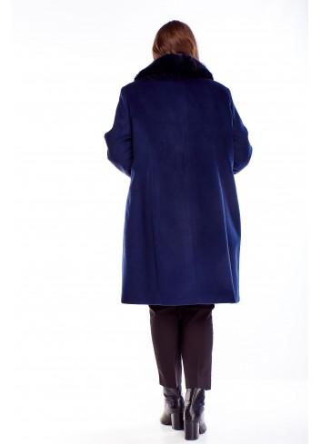 Klasyczny płaszcz z ozdobnym kołnierzem PLUS SIZE