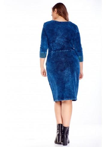 Bawełniana sukienka z rękawem 3/4 PLUS SIZE