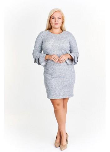 Melanżowa sukienka z falbaniastymi rękawami Plus Size