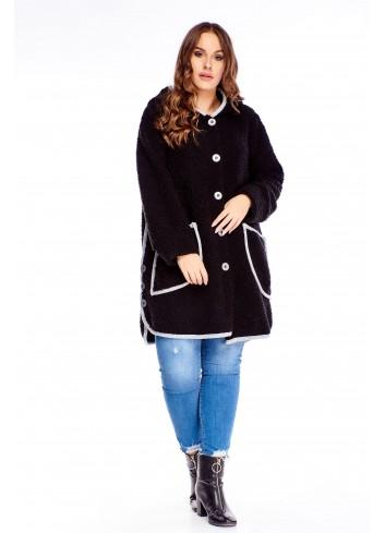 Długi rozpinany sweter z kapturem PLUS SIZE