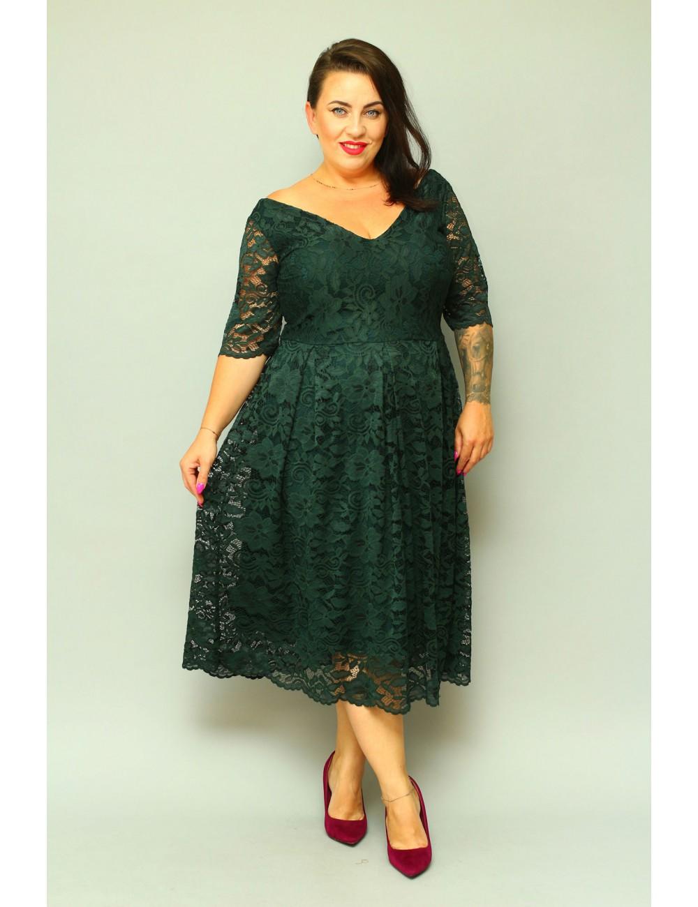 Rozkloszowana sukienka Moore koronkowa dla puszystej XXL