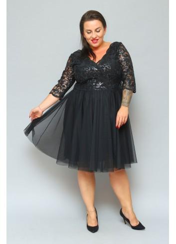 Ekskluzywna Sukienka rozkloszowana z tiulu Plus Size Listki