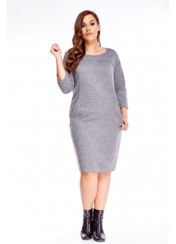 Prosta sukienka do pracy duży rozmiar XXL Plus size