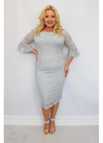 Sukienka Galla ołówkowa koronkowa falbany Plus Size