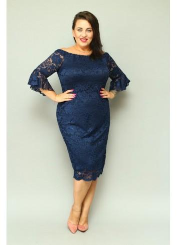 Sukienka ołówkowa koronkowa falbany Plus Size