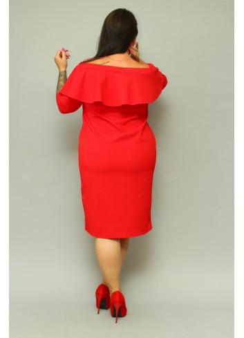 Sukienka ołówkowa hiszpanka z falbaną Plus Size