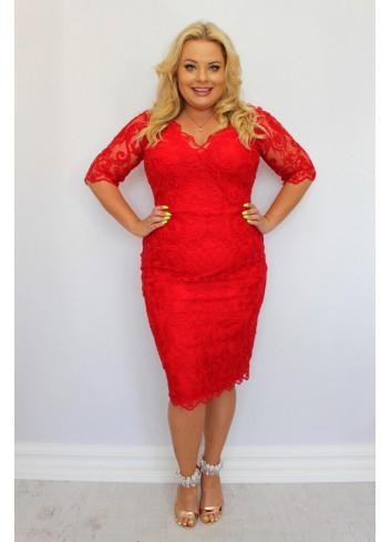 Pękna Sukienka ołówkowa ekskluzywna koronkowa Duże Rozmiary