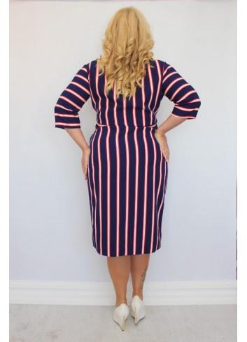 Ekstra sukienka ołówkowa do pracy w modne paski Plus Size