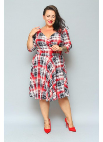 Sukienka rozkloszowana w kratkę Plus size
