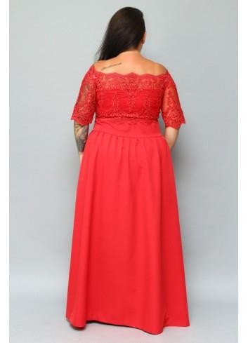 Sukienka maxi wieczorowa ekskluzywna hiszpanka gipiura