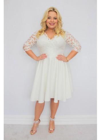 EKSKLUZYWNA  Sukienka rozkloszowana cekiny listki Plus Size