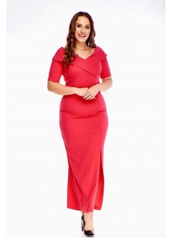 Czerwona sukienka maxi Plus Size na wesele