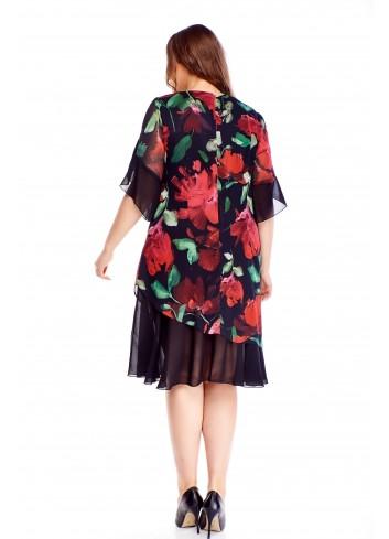 Wzorzysta sukienka z tiulowymi wstawkami dla puszystych