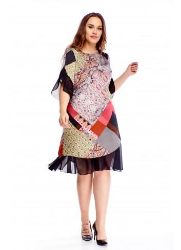Wzorzysta sukienka z tiulowymi wstawkami PLUS SIZE