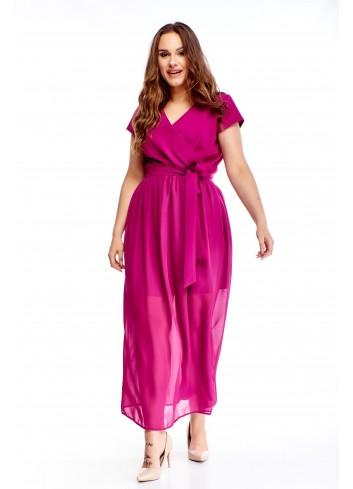 Kopertowa sukienka maxi z wiązaniem w pasie PLUS SIZE