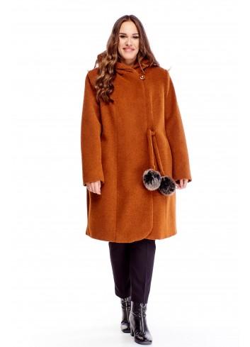 płaszcz z kapturem i wiązaniem w pasie