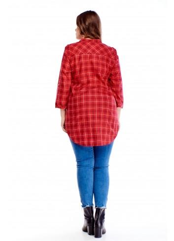 Wzorzysta bluzka o koszulowym kroju PLUS SIZE