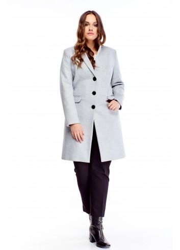 Klasyczny długi płaszcz na guziki elegancki dla puszystej XL