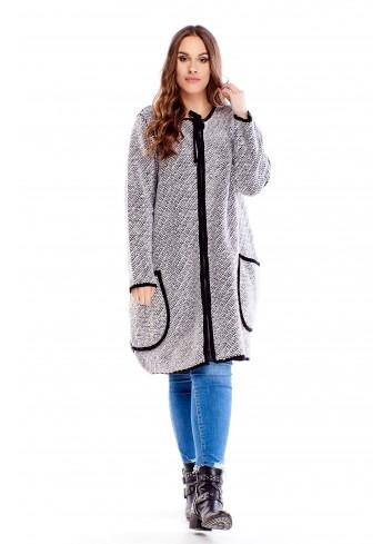 Długi luźny sweter oversize zapinany na ekspres XXL