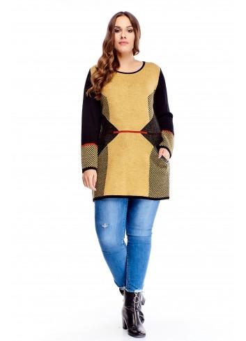 Sweterkowa tunika z przodem w różnych odcieniach i kieszonkami z a'la skórkową lamówką