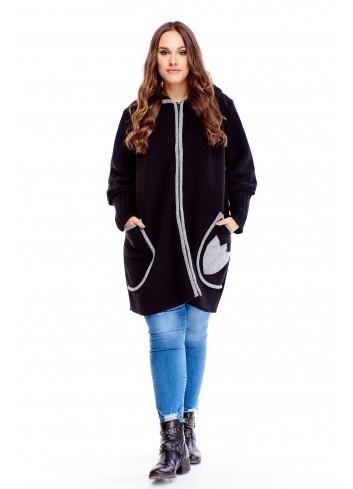 Długi sweter na zamek z kieszeniami i kapturem PLUS SIZE