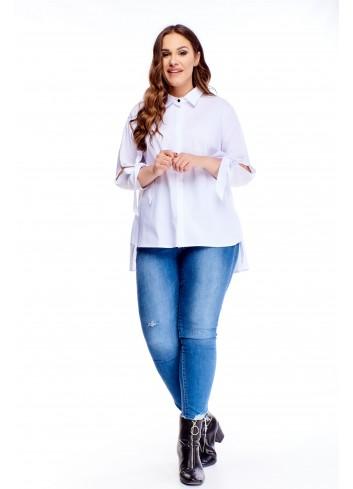 bluzka o koszulowym kroju z falbaną i wiązaniami przy rękawach