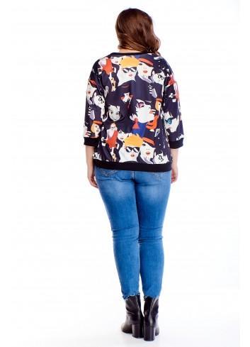Kolorowa bluza z oryginalnym printem i rękawem 3/4 PLUS SIZE
