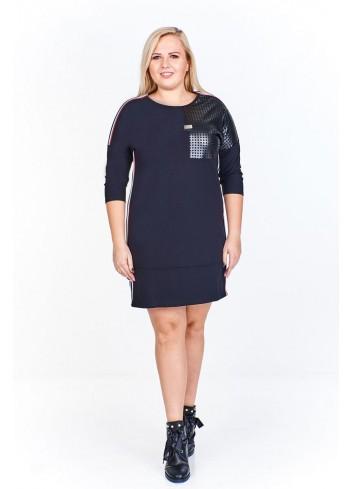 Sukienka o sportowym kroju z lampasami po bokach Plus Size