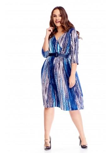 Sukienka z paskiem w modny wzór do pracy wygodna PLUS SIZE