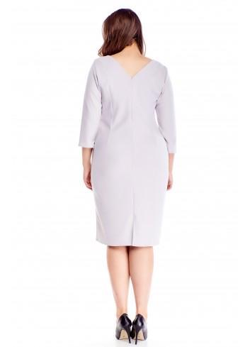 Gładka sukienka z ozdobną lamówką i rękawem 3/4 PLUS SIZE