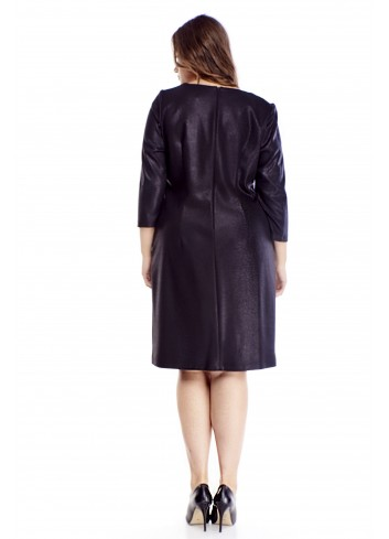 Trapezowa sukienka z błyszczącą nitką duże rozmiary XXL
