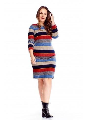Wzorzysta sukienka z długim rękawem dla puszystej XXL