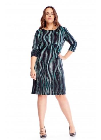 Wzorzysta sukienka z rękawem 3/4 na różne okazje PLUS SIZE