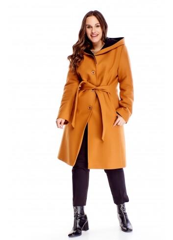 Płaszcz zapinany na guziki i wiązaniem w pasie dla puszystej