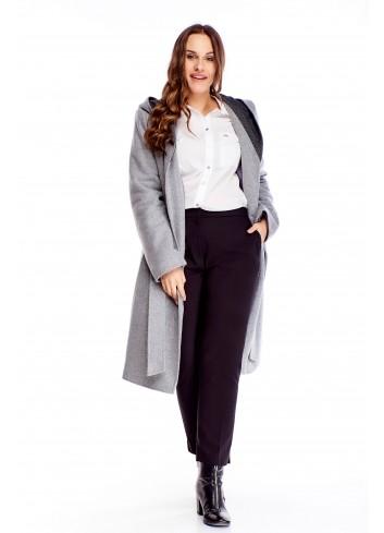 Elegancki płaszcz na guziki i wiązaniem w pasie PLUS SIZE