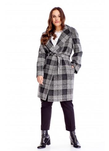 Elegancki płaszcz w kratkę i wiązaniem w pasie PLUS SIZE
