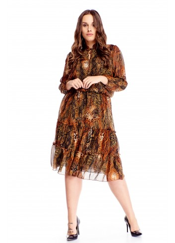 Zwiewna sukienka z falbaniastym dołem i wiązaniem przy dekolcie