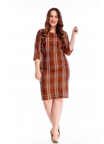Sukienka w modną kratę z rękawem 3/4 Plus Size