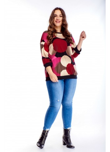 Kolorowa bluza w oryginalny wzór z rękawem 3/4 PLUS SIZE