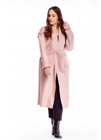 Długi płaszcz o szlafrokowym kroju modny na jesień/zimę XXL