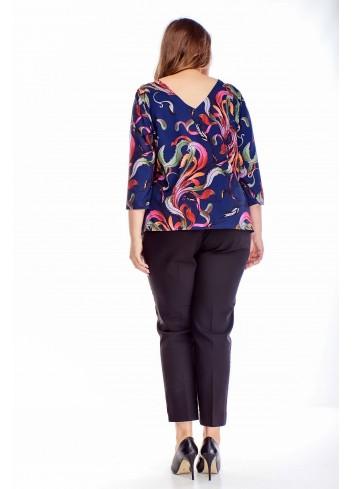 Bluzka z dekoltem V modny wzór Plus size