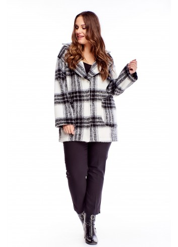 Elegancki płaszcz w kratę Plus Size XXL