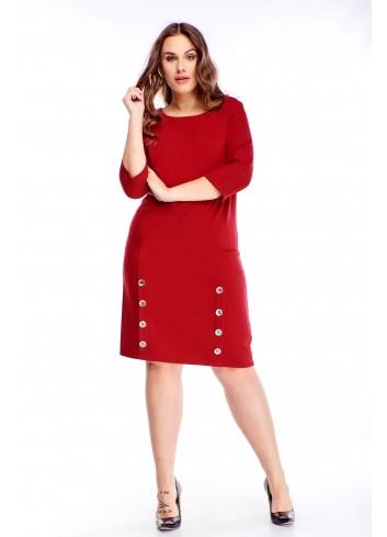 Czerwona sukienka codzienna Edna do pracy Plus Size