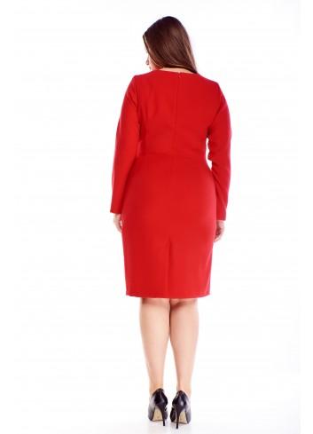 Elegancka sukienka z długim rękawem i przeszyciami XXL